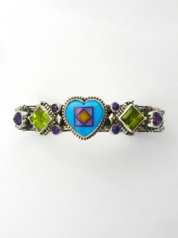 Turquoise Blossomcrown Heart Cuff Bracelet