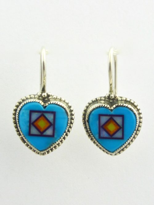 Turquoise Blossomcrown Heart Earrings