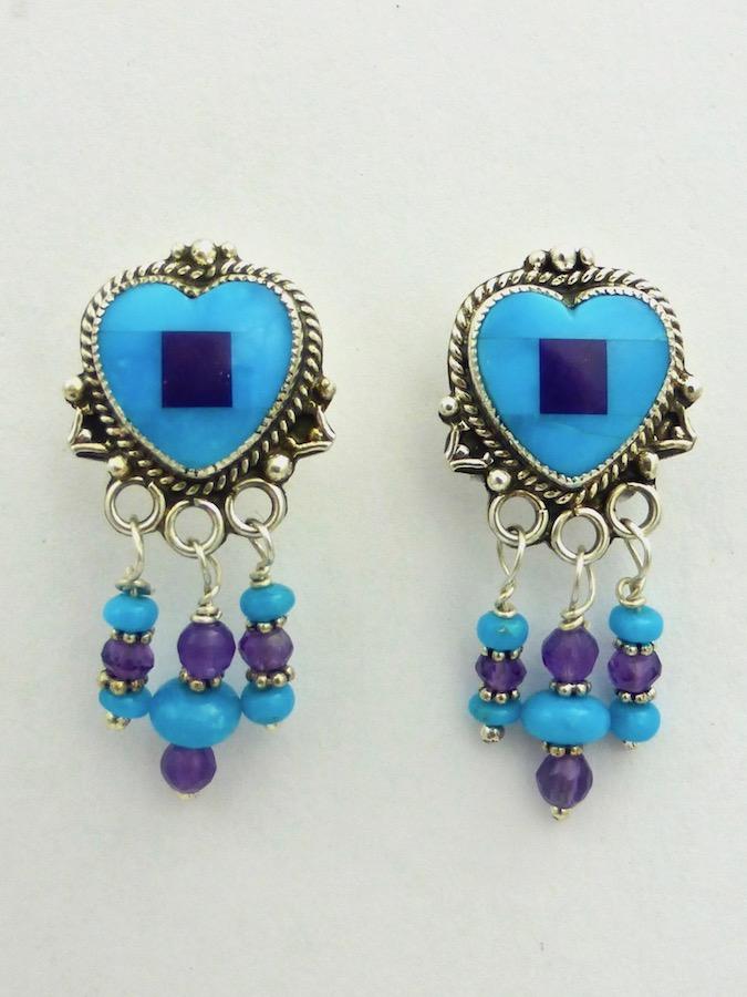Turquoise Mosaic Heart Earrings