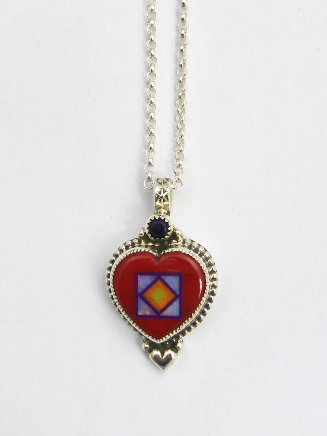 Red Coral Blossomcrown Heart Necklace