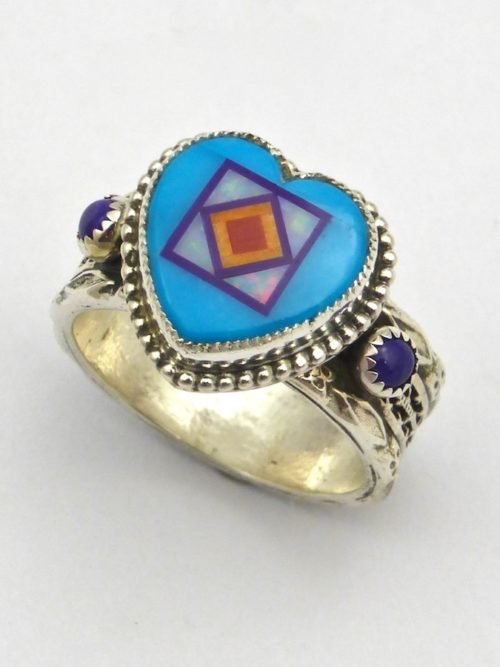 Turquoise Blossomcrown Heart Ring