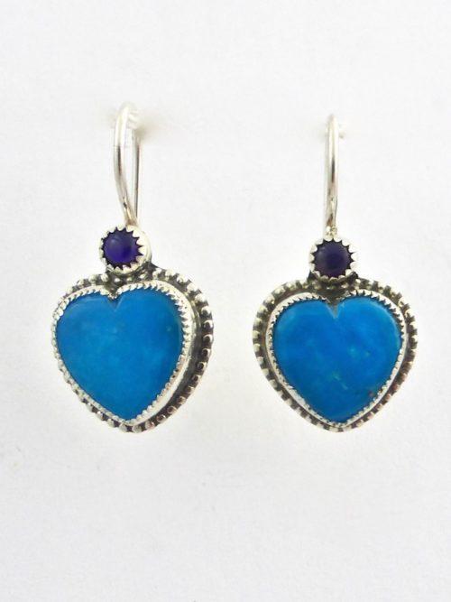 Turquoise Morningstar Heart Earrings