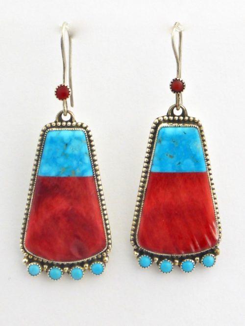 Red Oyster Shell Keystone Earrings