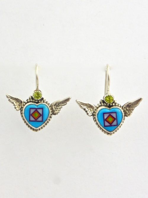 Turquoise Angel Heart Earrings