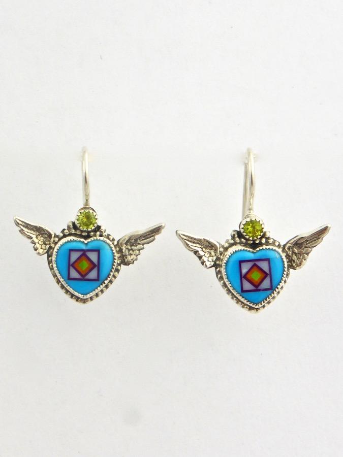Turquoise Angel Heart Earrings