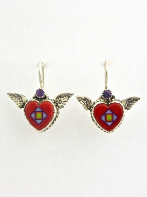 Red Coral Angel Heart Earrings