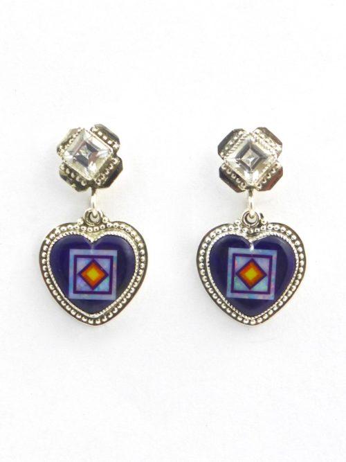 Sugilite Blossomcrown Heart Earrings