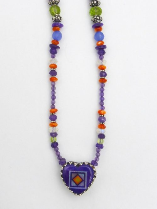Sugilite Blossomcrown Beaded Gallery Heart Necklace