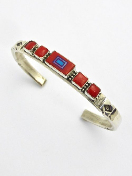 Red Coral Sabre Wing Rectangle Cuff Bracelet