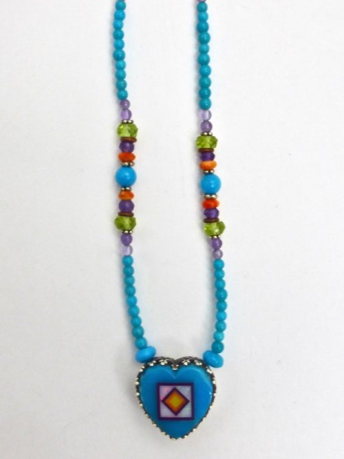 Turquoise Blossomcrown Gallery Heart Beaded Necklace