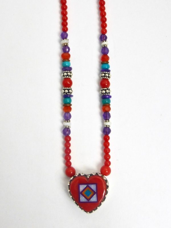 Red Coral Blossomcrown Gallery Heart Beaded Necklace