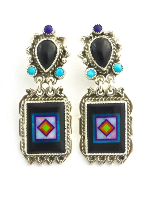 Jet Blossomcrown Rectangle Earrings