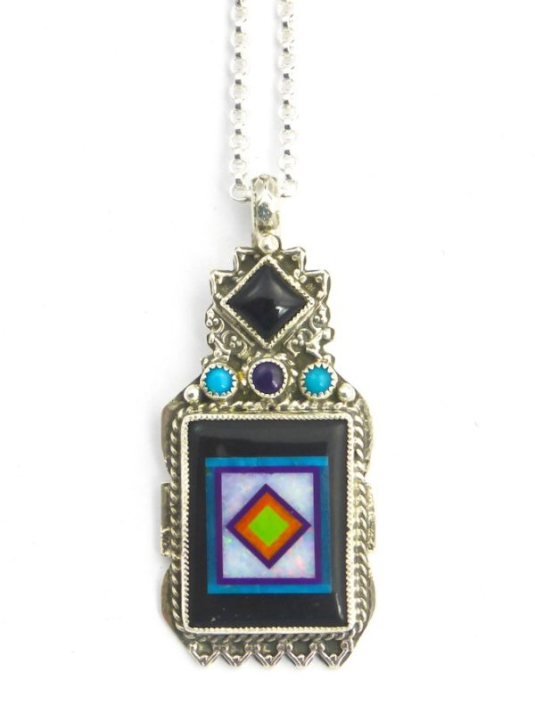 Jet Blossomcrown Rectangle Necklace