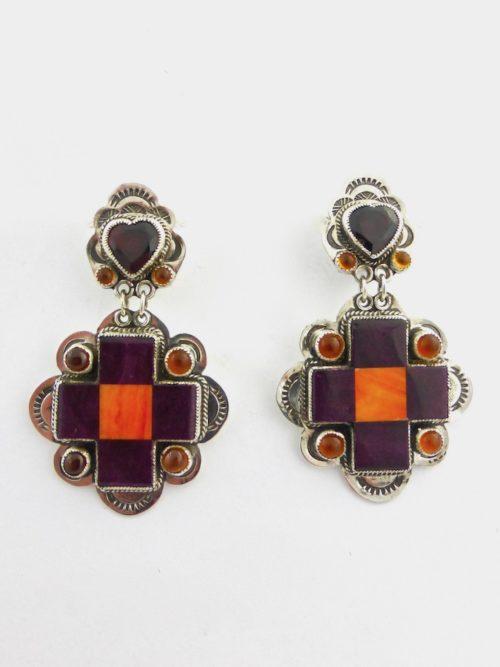 Purple Oyster Shell Mosaic Cross Earrings