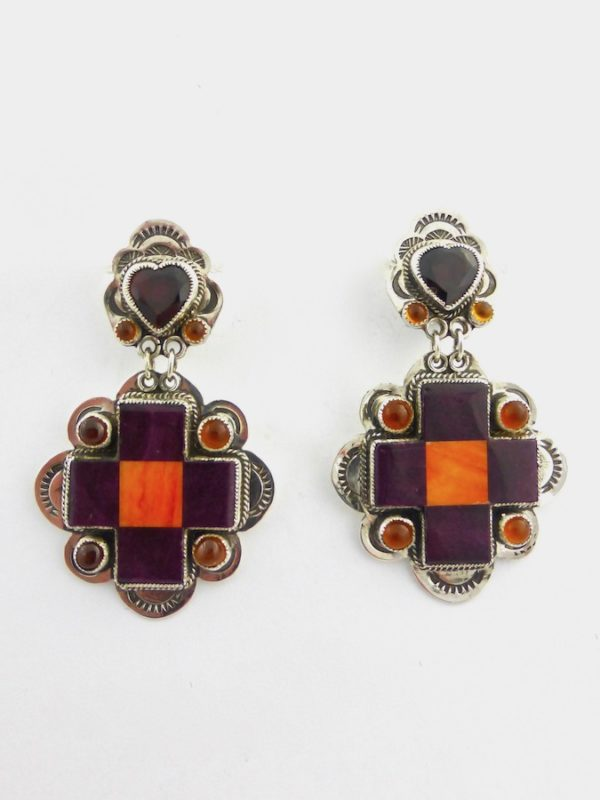 Purple Oyster Shell Mosaic Cross Earrings