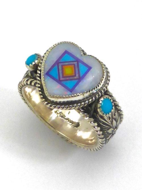 Opal Blossomcrown Heart Ring