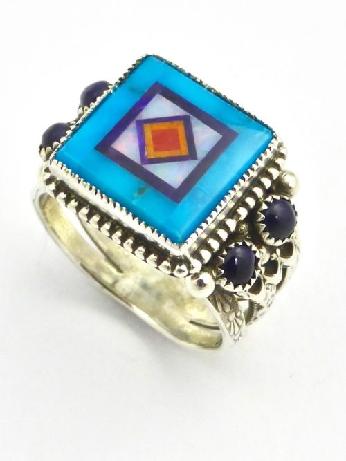Turquoise Blossomcrown Square Ring