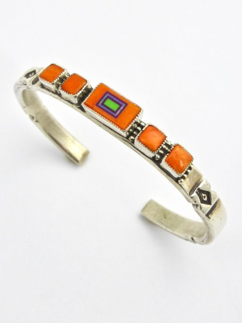 Orange Spiney Oyster Sabre Wing Rectangle Cuff Bracelet