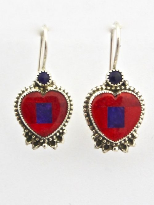 Red Spiney Oyster Mosaic Heart Earrings