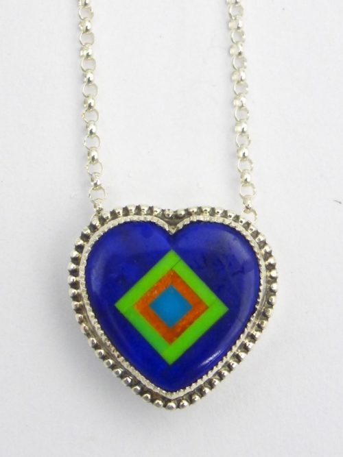Lapis Coronet Sabre Wing Heart Necklace