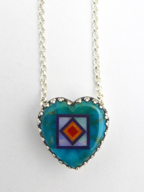 Turquoise Blossomcrown Heart Necklace