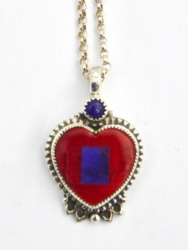 Red Spiney Oyster Mosaic Heart Necklace