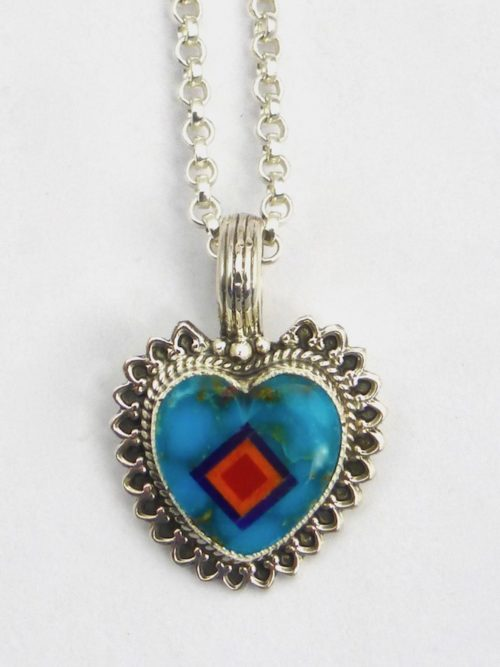 Turquoise Coronet Sabre Wing Heart Necklace