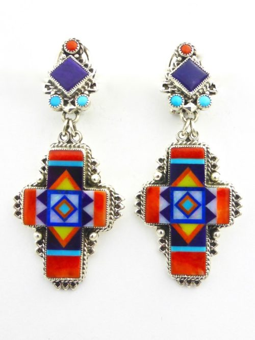 Orange Spiney Oyster Sunangel Cross Earrings