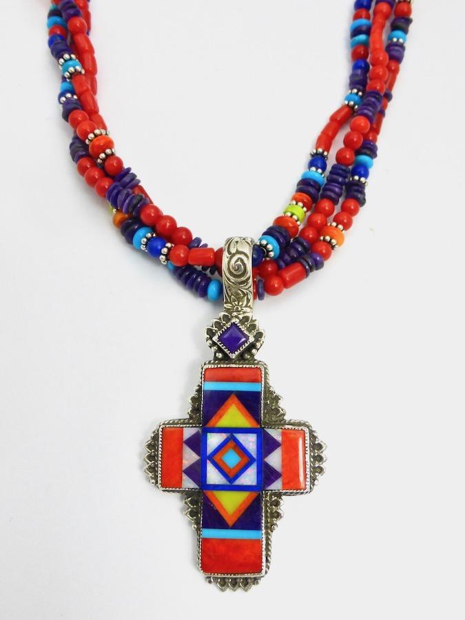 Orange Spiney Oyster Sunangel Cross Necklace