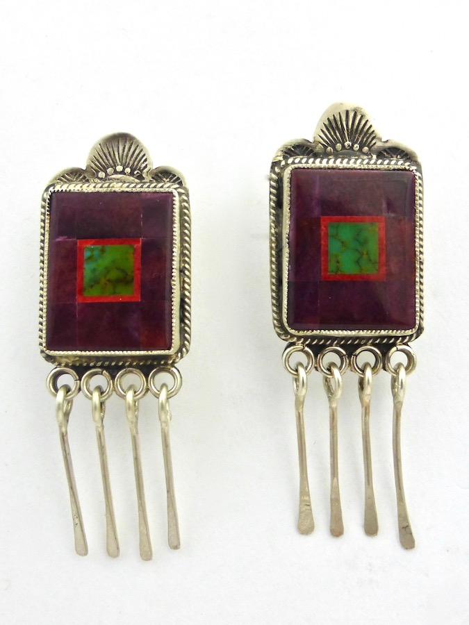 Purple Oyster Shell Mosaic Earrings