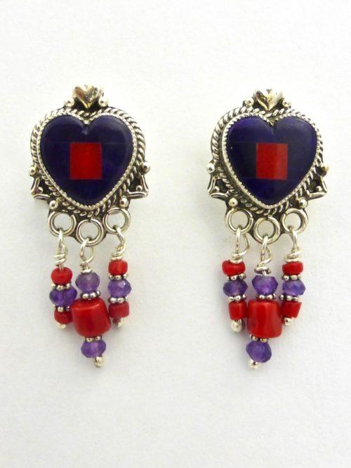 Sugilite Mosaic Heart Earrings