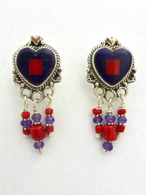 Sugilite Mosaic Heart Earrings