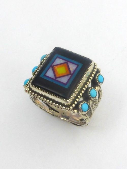 JET BLOSSOM CROWN RECTANGLE RING