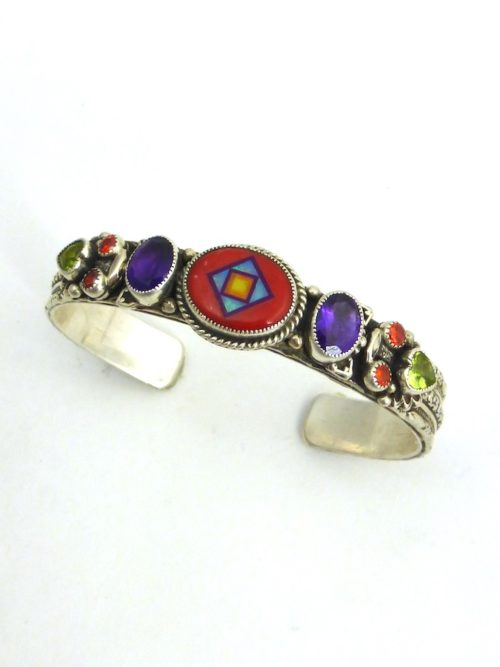 RED CORAL CORONET BLOSSOM CROWN OVAL CUFF