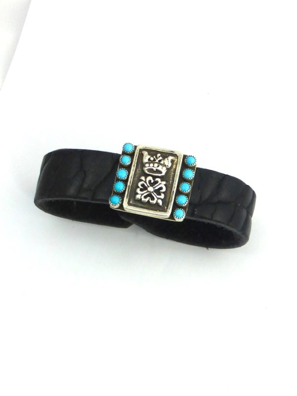 CROWNED TURQUOISE BLACK LEATHER BRACELET
