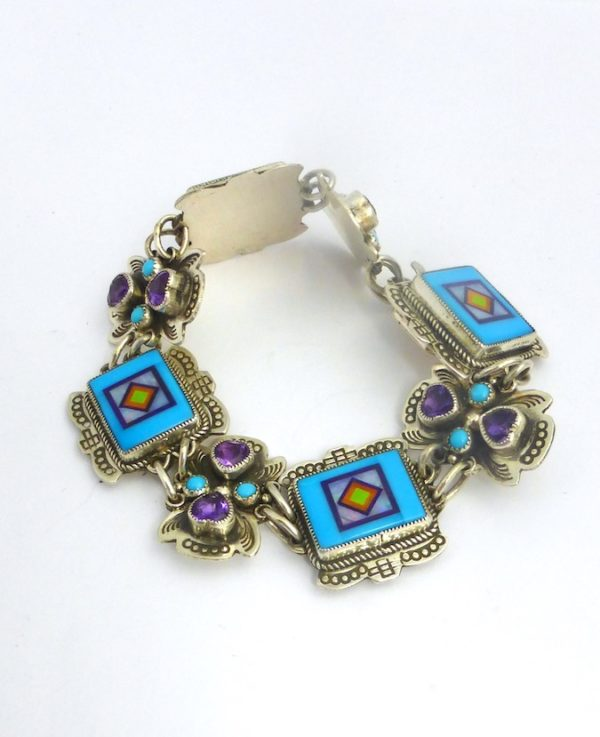 TURQUOISE RECTANGLE LINK BRACELET