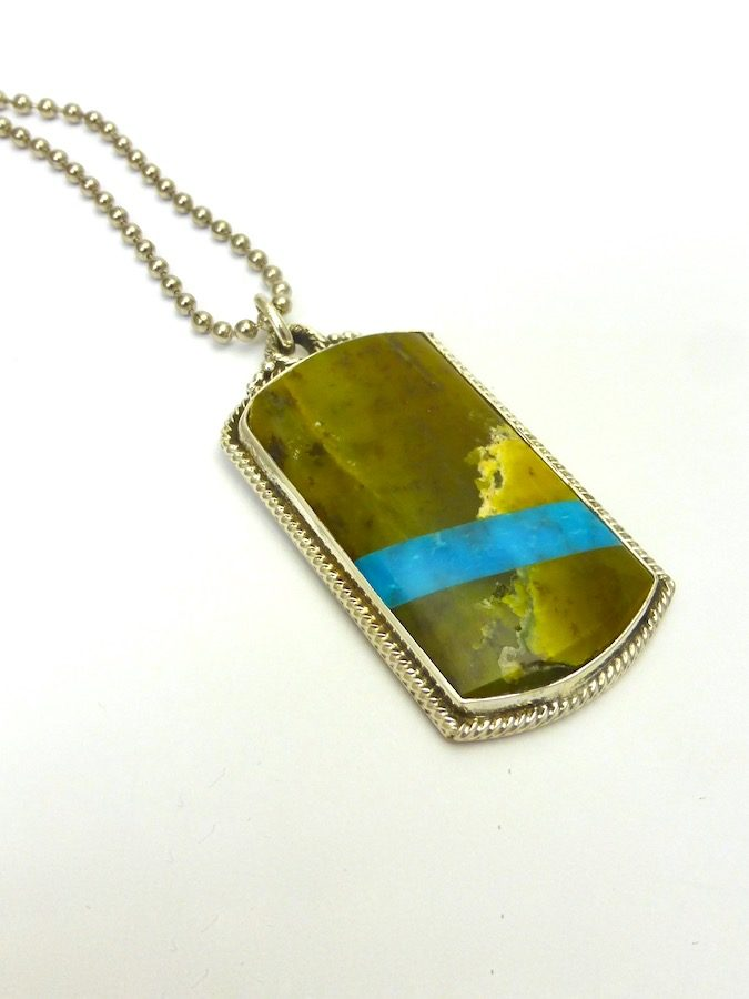 SERPENTINE RECTANGLE DOG TAG CODE TALKER NECKLACE