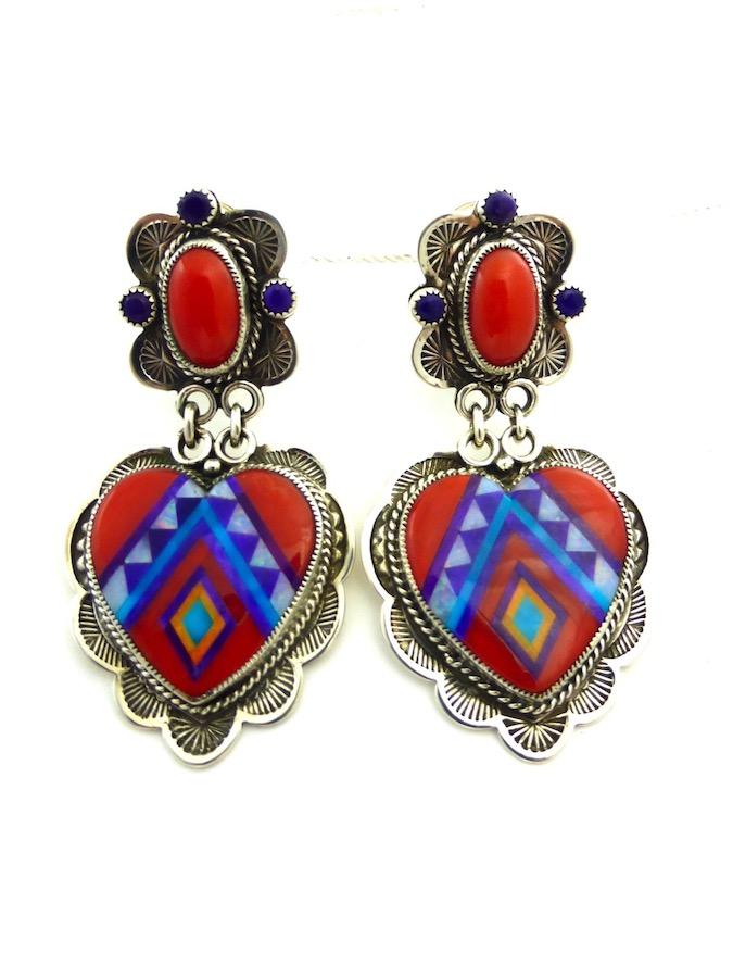 RED CORAL SUNANGEL HEART EARRINGS