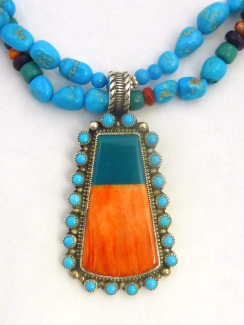 ORANGE SPINEY OYSTER GREEN TURQUOISE KEYSTONE BEADED NECKLACE