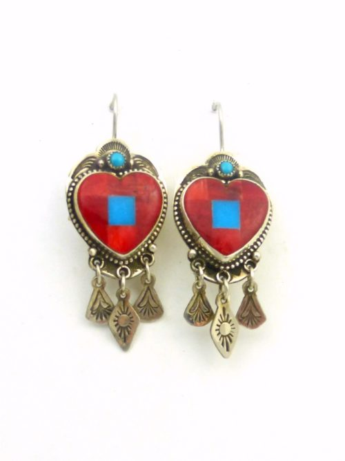 red-coral-mosaic-heart-earrings