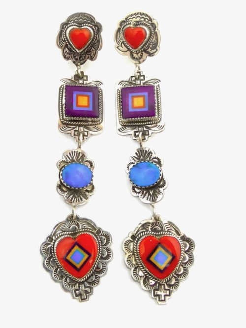 MOSAIC-DANGLE-4-TIER-SUGILITE-RED-CORAL-EARRINGS