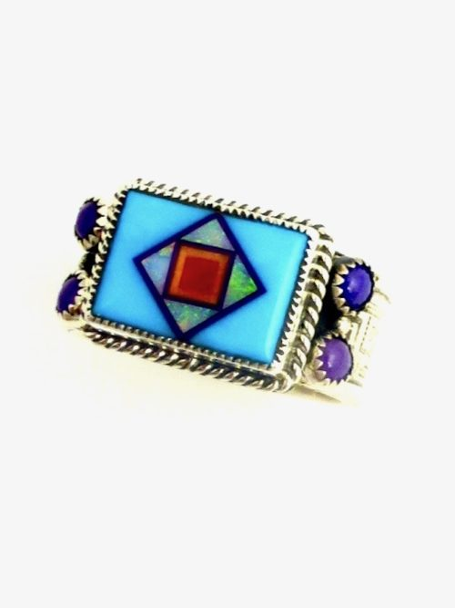 TURQUOISE-CORONET-BLOSSOMCROWN-RECTANGLE-RING