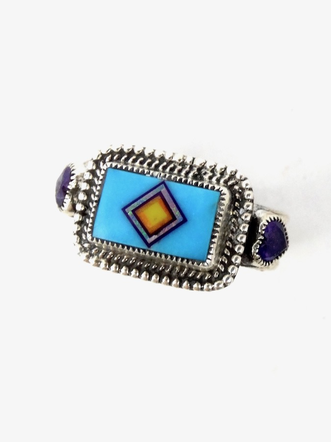 TURQUOISE-CORONET-SABRE-WING-RECTANGLE-RING