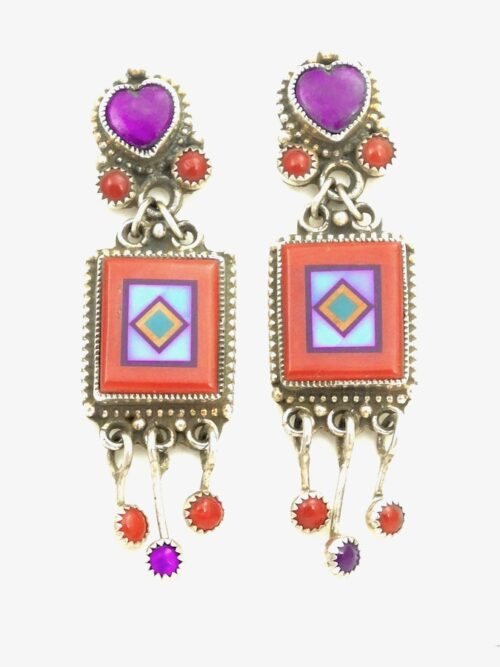 RED-CORAL-BLOSSOMCROWN-RECTANGLE-DANGLES-EARRINGS