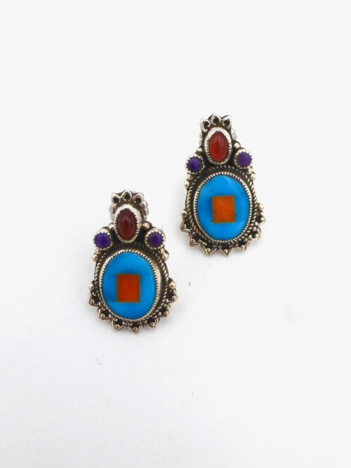 Turquoise-Inlaid-Mosaic-Earring