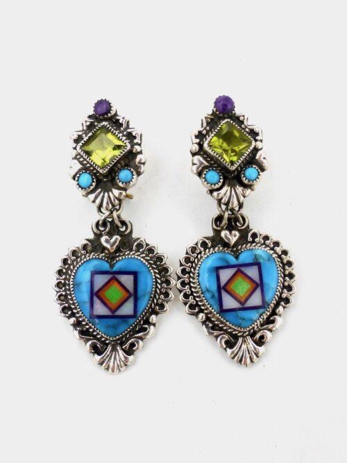 turquiose-peridot-heart-blossomcrown-earrings