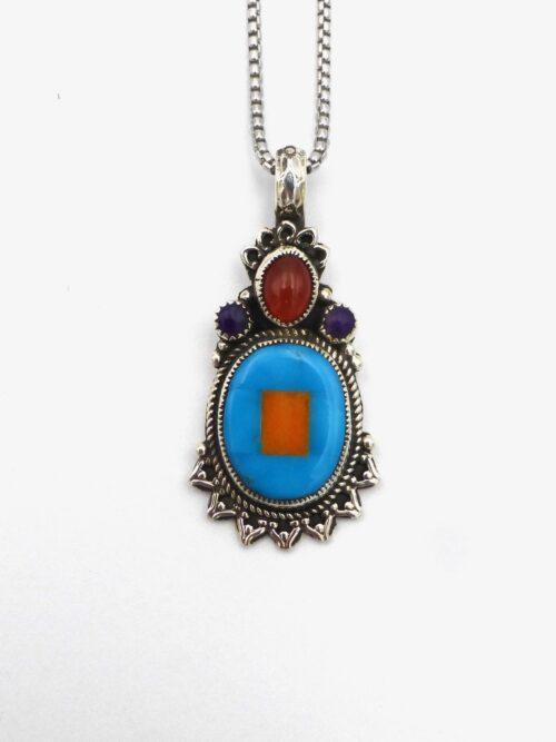 Turquoise-Orange-Spiny-Shell-Mosaic-Necklace